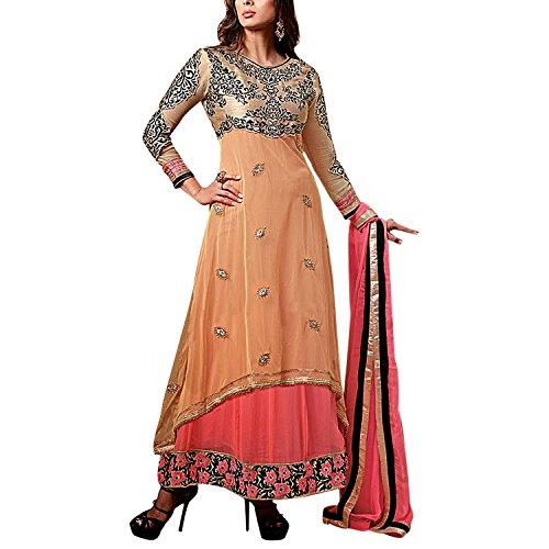 Sree Sai Laxmi Women Georgette Orange SemiStitched Dress Material
