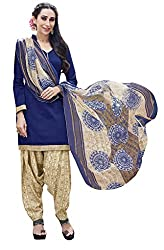 Parinaaz fashion Blue Sunday Patiyala Cotton Patiyala Dress Material