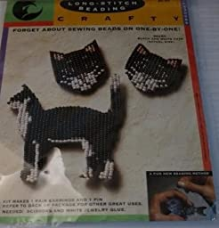 Black and White Cats - Long-Stitch Beading Kit 802BC - Earrings and Pin