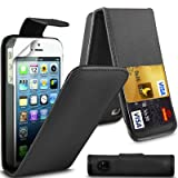 G4GADGET� Apple iPhone 5/5S Black Flip Wallet PU Leather Case Cover with Two Card slots For Apple iPhone 5/5S