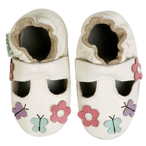 Momo Baby Soft Sole Baby Sandal Shoes - Daisy & Butterfly Cream White