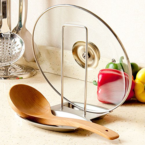 Stainless Steel Pot Lid Holder and Spoon Rest Stand Stove Organizer Storage Cooking Tools Kitchen Accessories Soup Spoon Rests (Small White Spoon Rest compare prices)