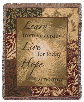 Learn Live Hope Mid-Size Deluxe Tapestry Throw Blanket USA Made