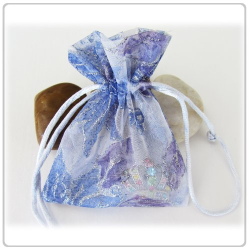 Purple Flower Design Wedding Organza favor Drawstring Pouches Gift Bags 3x4.5 inches Pack of 5
