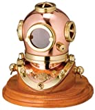 3 Brass Diving Helmet with Wood Base Nautical Tropical Home Decor