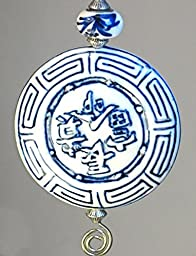 Large Asian Chinese White & Blue Porcelain Style Glass with Character Symbols of Good Luck, Fortune, Happiness & Contentment Ceiling Fan Pull Chain