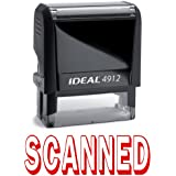 SCANNED II Red Office Stock Self-Inking Rubber Stamp