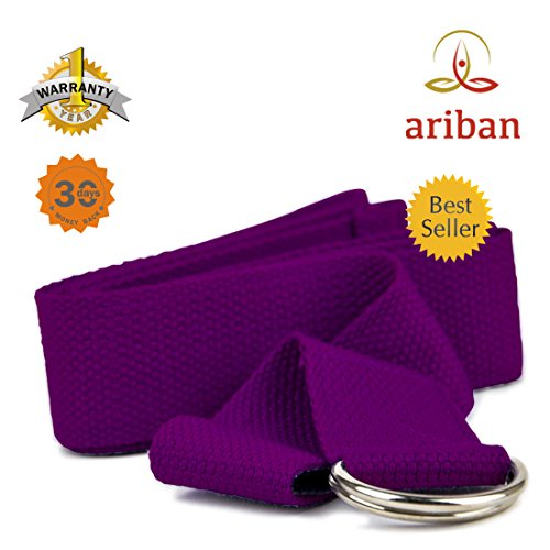 ✤ Ariban™ - Yoga Strap - Purple Lilac ✤ Yoga Strap with Buckles (D Ring) -- Attain Better Flexibility and Higher Consciousness with Our ✔Extra Thick & Durable, ✔Easy-to-grip, ✔Extra Strong ✔Long-lasting Buckle Yoga Strap -- Well Worth for the Price By 30 Day Money Back Plus 1 Year Warranty.