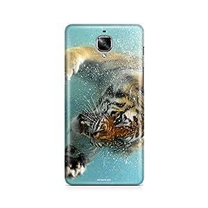 Motivatebox - Oneplus three - 3 Back Cover - Tiger vs fish Polycarbonate 3D Hard case protective back cover. Premium Quality designer Printed 3D Matte finish hard case back cover.