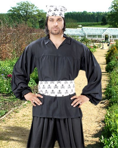 Medieval Poet's Pirate Early Renaissance Shirt Costume [Black]