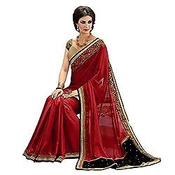 Resham Fabrics Red Georgette Saree