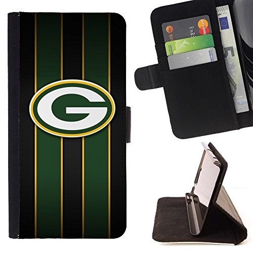 - Green Bay Packer Hockey/ Personalized Design Custom Style PU Leather Case Wallet Flip Stand - Cao - For Samsung Galaxy J3