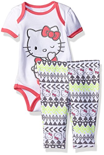 Hello Kitty Baby Girls' 2pc Top and Pant Set, Grey/Pink, 6-9 Months