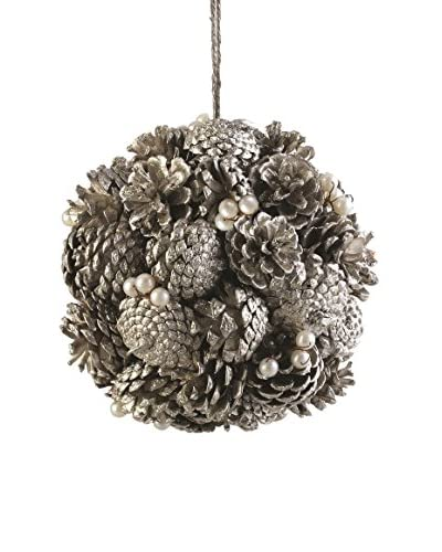 Napa Home & Garden Vintage-Inspired Pine Cone And Pearl Orb, Antique Platinum