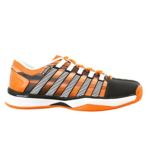 K-Swiss HyperCourt Tennis Sneaker Shoe - Black / Vibrant Orange / Graphic Print - Mens - 8.5