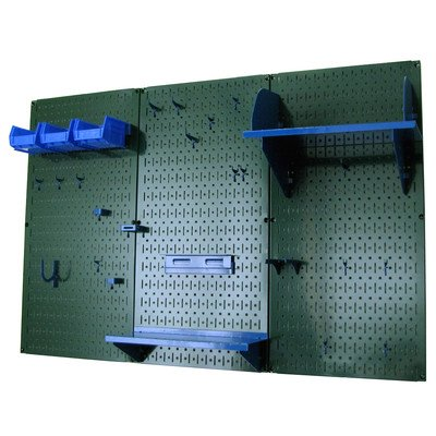 Wall Control 4ft Metal Pegboard Standard Tool Storage Kit - Green Toolboard & Blue Accessories