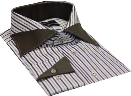Italian Design Men's Formal Casual Shirts Designed Collar & Cuffs Brown Colour