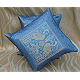 CRAFT OPTIONS SILK BROCADE CUSHION COVER (2 PIECES , BLUE)