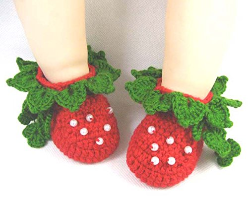 Besto Baby Handmade Knit Crib Crochet Green Strawberry Baby Infant Shoes Sock 0-12M front-639678