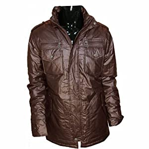 Buy Guess Herman Mock Puffy Jacket Mens (Brown, S) by GUESS