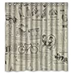 Vintage Design New Style Classic Newspaper Polyester Bathroom Shower Curtain 66(W)x72(H)-Inch