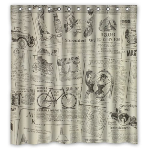 Vintage Design New Style Classic Newspaper Polyester Bathroom Shower Curtain 66(W)x72(H)-Inch 0
