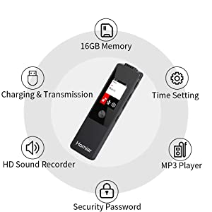 Digital Voice Recorder,16GB Audio Recorder Dictaphone,Audio Recorder Device with MP3 Player,Playback,Upgraded Voice Activated Recorder/Operated Recording for Lectures (Black) (Color: Black)