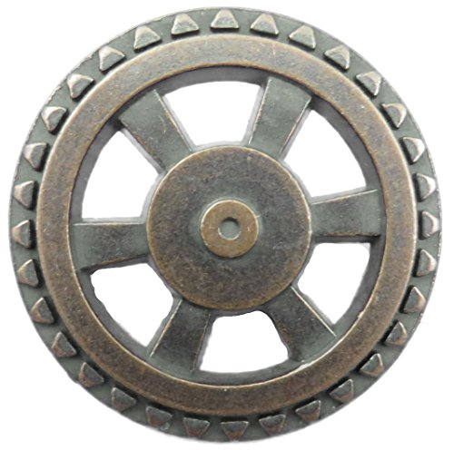 Steampunk Button - Open Wheel Button - Antique Copper Finish 1 5/8""
