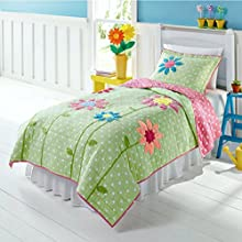 Green White amp Pink Polka Dots amp Flowers 2 Pc Twin Quilt amp Sham Set