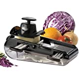 Starfrit 093087 4-Blades Easy Mandoline Slicer with Container, Black