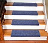 Dean Modern DIY Peel and Stick Bullnose Wraparound Non-Skid Carpet Stair Treads - Michelle Blue 30