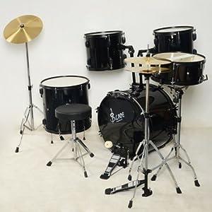 usongs band professional kit 5 pcs adult drum set jazz black for beginner bass snare. Black Bedroom Furniture Sets. Home Design Ideas