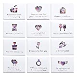 Mini Valentine's Day Love Blank Note Cards Valentine Greeting Tag Card Kit Collection Set of 12