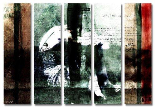 Stilvoll und modern! 5 teiliges Bild auf Leinwand - modern Art Design (Close_big-5x30x110cm) Kunstdruck auf Rahmen mit Bilder Motiv (abstrakt Frau hockend Shiluette Schrift Muster Malerei grün rot braun) . Schnäppchen, ideal als Geschenk für Familie & Freunde. Schöner wohnen mit Foto als Bild - Picture at Home. 100% Made in Germany - Qualität aus Deutschland. Weitere schöne Foto Bilder im Bild Online Shop.