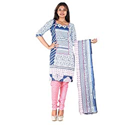 RangoliSF Woman's Cotton Unstitched Dress Material (RSFT1006 White)