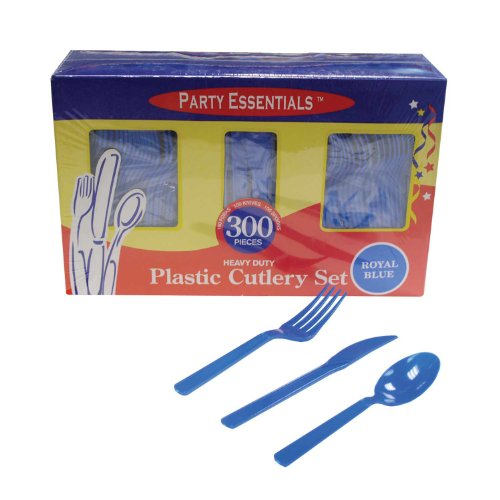 Northwest Enterprises Heavy Duty Plastic Cutlery Box Set With Full Size Knives/Forks/Spoons, Royal Blue, 100 Place Setting-Count