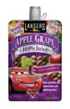 Langers Disney Cars 100% Apple Grape Juice Pouches, 6.75 Ounce (Pack of 10)