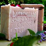 Egyptian Geranium with French Rose Clay- Cocoa Butter and Crushed Flowers Soap 7 Oz Bar ~ Natural Handcrafted...