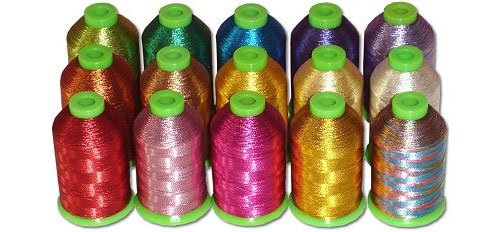 15-cone Metallic Polyester Core Embroidery Thread Kit - 15 colors - 1100 yards - 40wt