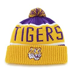 Buy LSU Tigers Yellow Purple Calgary Beanie Hat with Pom - NCAA Cuffed Winter Knit Toque Cap by '47 Brand