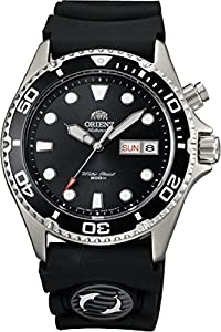 Orient Ray Black Dial 21-Jewel Automatic Dive Watch on Rubber Strap EM6500BB