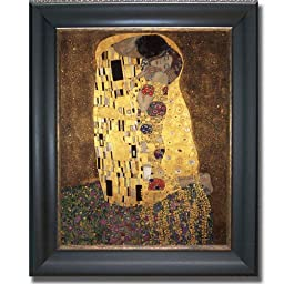 The Kiss by Klimt Premium Black & Gold Framed Canvas (Ready-to-Hang)