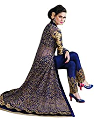 Alethia Blue & Gold Color Party Wear Embroidered Velvet & Net Semi-Stitched Anarkali Suit-H37DL63SH
