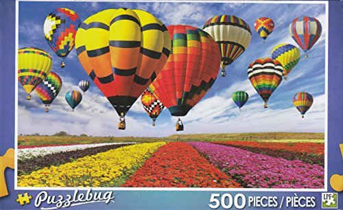 Puzzlebug 500 - Colorful Hot Air Balloons and Flower Field by LPF - 1