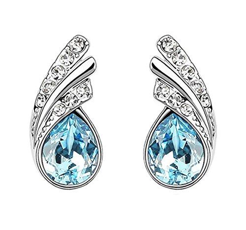Ornate Teardrop Swarovski Element Crystal Earrings Fashion Jewelry For Women (Sea Blue)