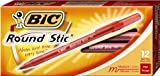 BIC Round Stic Ballpoint Pens, 1.0 mm, Red,  Box of 12 (GMS11-Red)
