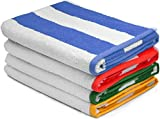 """Large Beach Towel, Pool Towel in Cabana Stripe (Variety 4 pack) - Cotton, 30""""x60"""" by Utopia Towel"""