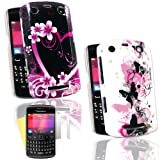 New black/pink heart and pink/black butterflies 2 case set for Blackberry 9360 (2pk) FREE Screen Protector