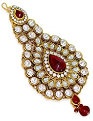 Gold Plated Maroon White Stone Studded Kundan Mangtika Mangpasa For Women