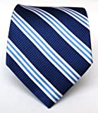 100% Silk Woven Navy Striped Tie
